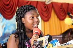 Sacheen Laing Reading Poem at Jordan Foote Funeral - Photo Credit loopjamaica.com